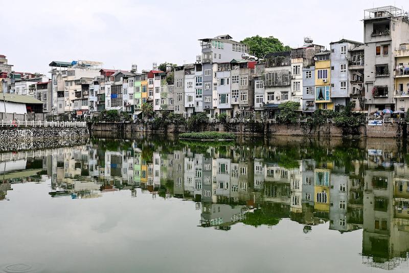 The 'tube houses' that dominate Hanoi's streets