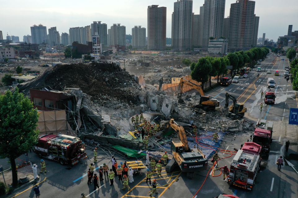 South Korea building collapses suddenly during demolition, killing 9