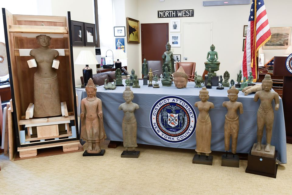 Antiquities to be repatriated to Cambodia are seen during a news conference at the Manhattan District Attorney's Office, in New York, U.S., June 9, 2021. Manhattan District Attorney's Office/Handout via Reuters
