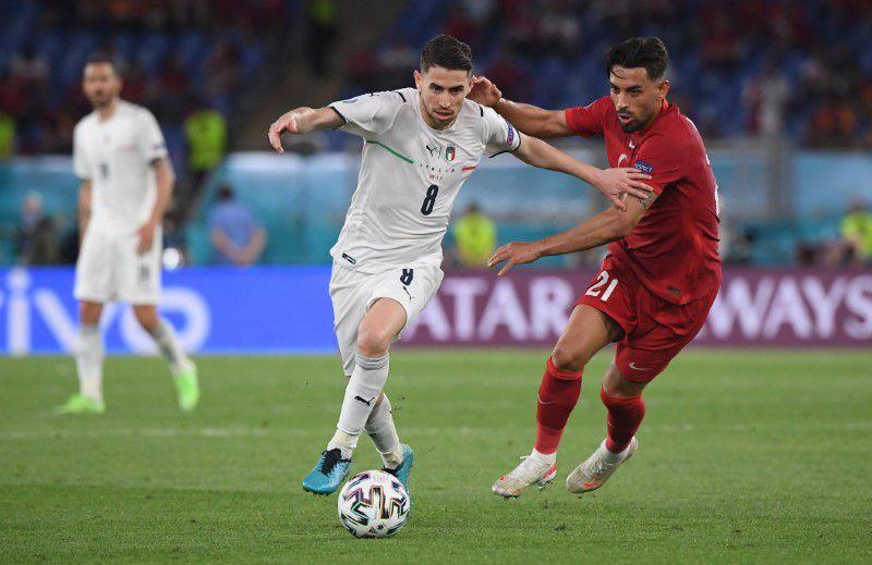 Soccer Football - Euro 2020 - Group A - Turkey v Italy - Stadio Olimpico, Rome, Italy - June 11, 2021 Italy's Jorginho in action with Turkey's Irfan Kahveci. Pool via Reuters