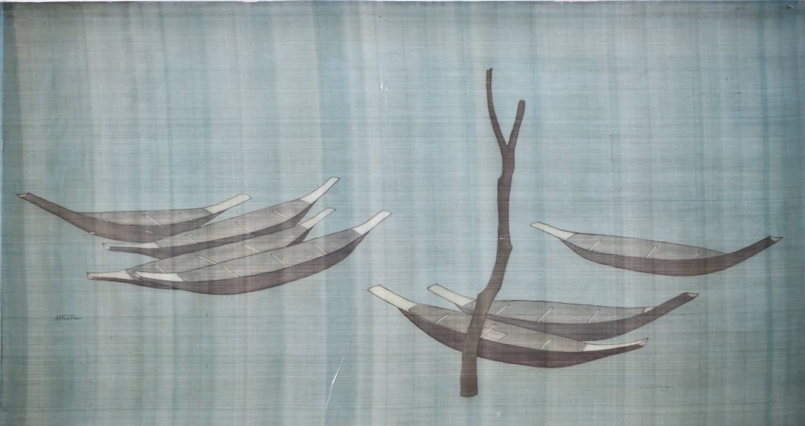 Dug-out canoes, silk painting, 76cmx147cm by the artist Hoang Minh Hang in a supplied photo.