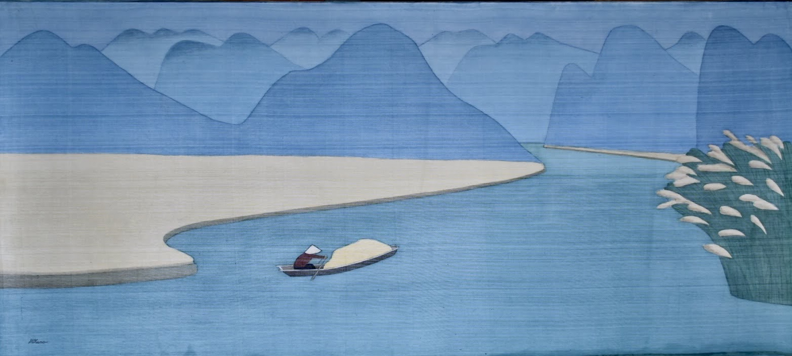 Landscape of Ninh Binh, silk painting, 87cmx197cm by the artist Hoang Minh Hang in a supplied photo.
