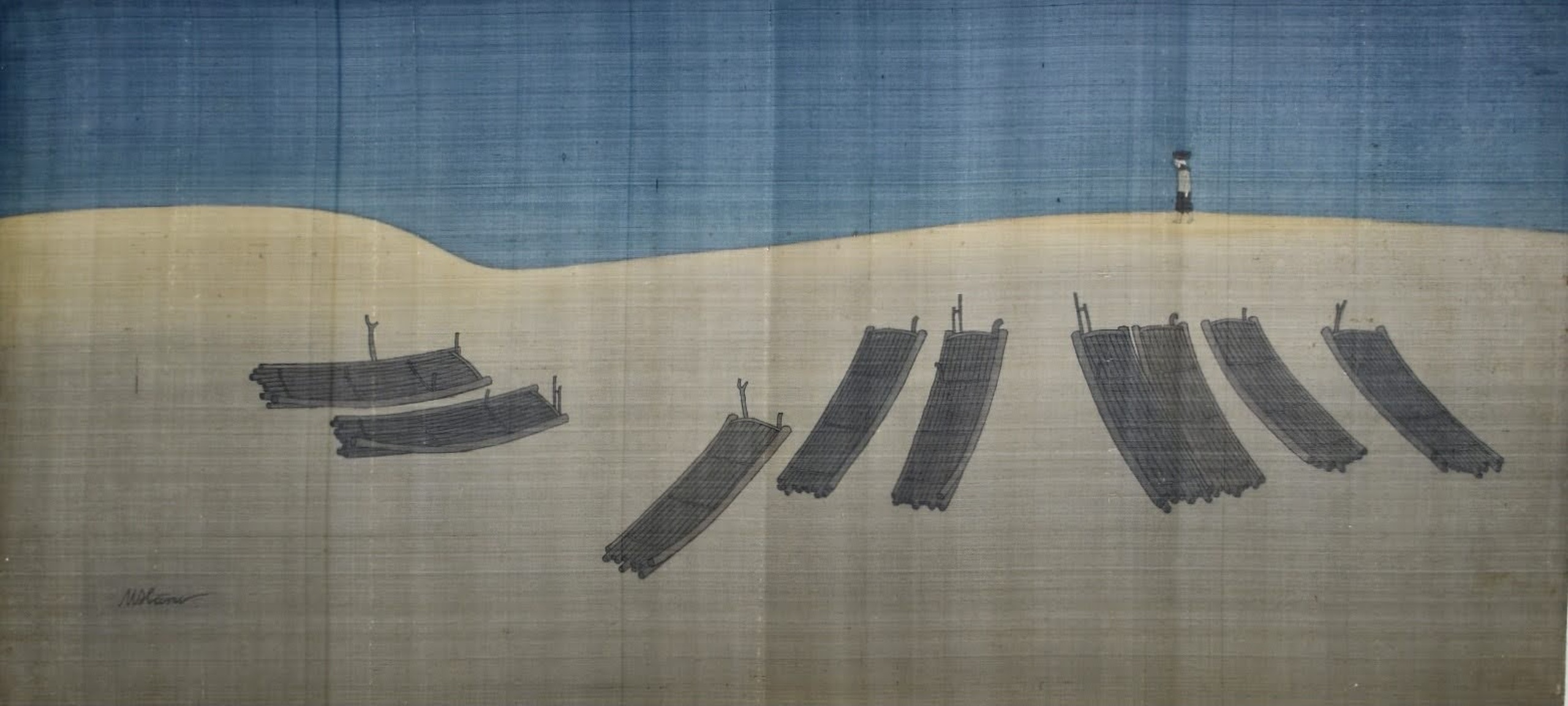 Wooden rafts in Sam Son Beach, silk painting, 75cmx167cm by the artist Hoang Minh Hang in a supplied photo.
