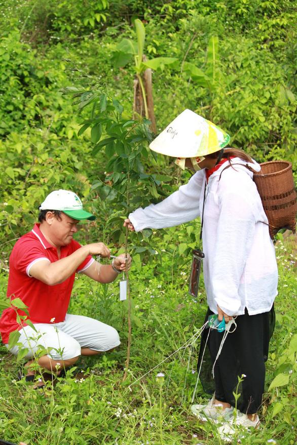 A tourist hangs an identification card on a tree he plants. Photo: Khoi Minh/Tuoi Tre