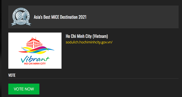 A screenshot from World MICE Awards' official website shows Ho CHi Minh City as a nominee for Asia's Best MICE Destination Award 2021 title.