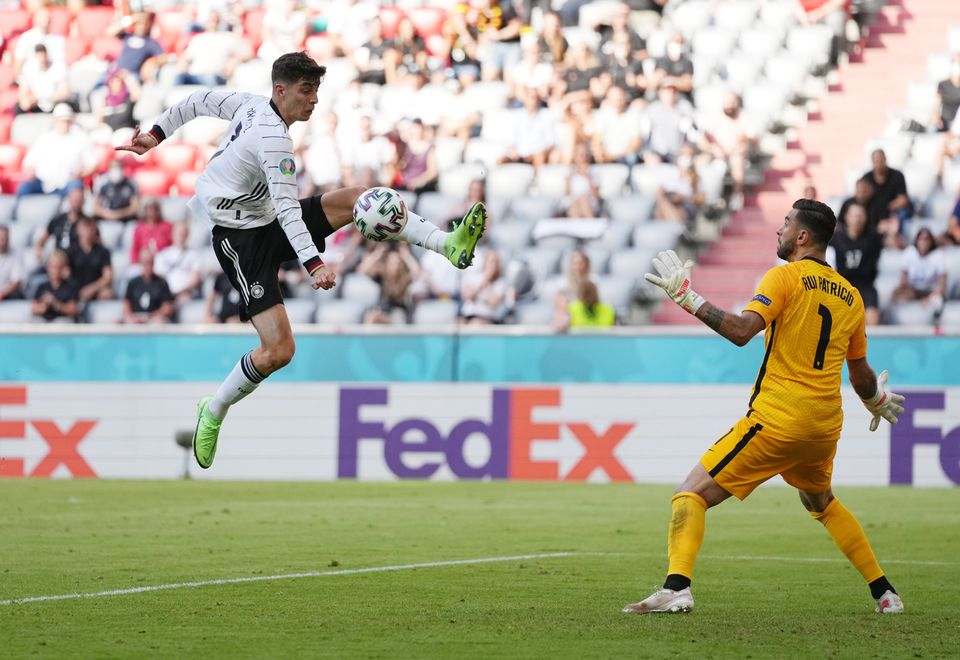 Soccer Football - Euro 2020 - Group F - Portugal v Germany - Football Arena Munich, Munich, Germany - June 19, 2021 Germany's Kai Havertz in action with Portugal's Rui Patricio. Photo: Pool via Reuters