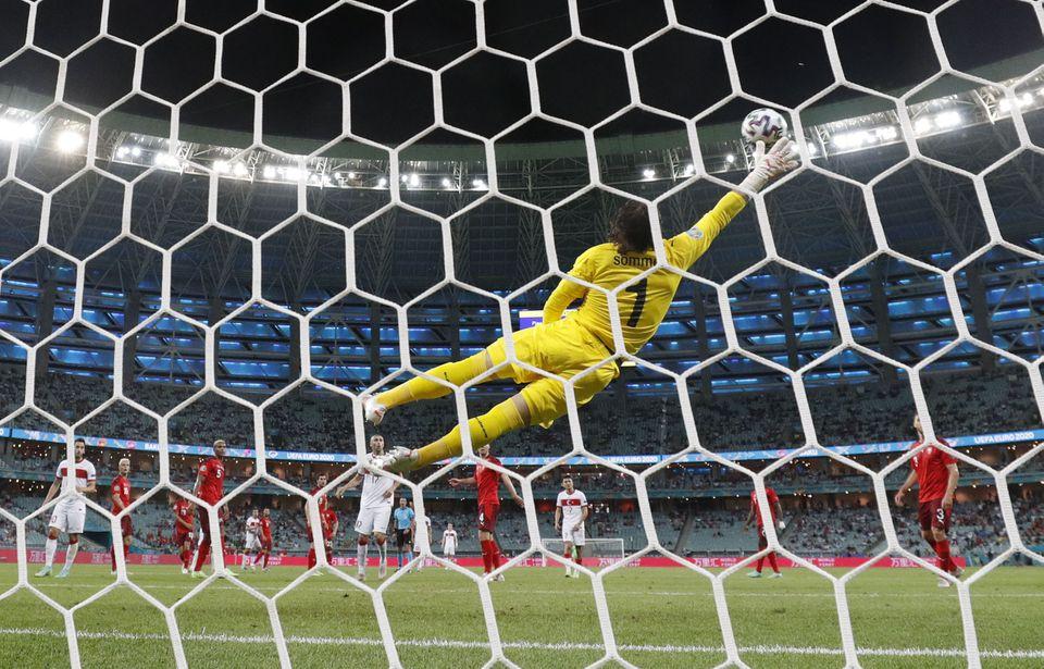 Soccer Football - Euro 2020 - Group A - Switzerland v Turkey - Baku Olympic Stadium, Baku, Azerbaijan - June 20, 2021 Turkey's Irfan Kahveci scores their first goal. Photo: Reuters