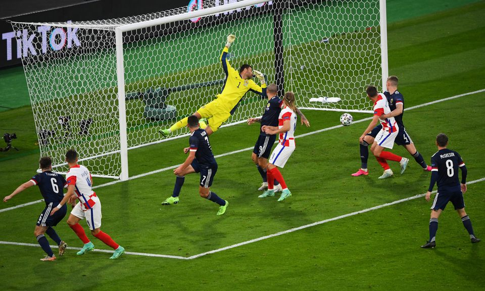 Soccer Football - Euro 2020 - Group D - Croatia v Scotland - Hampden Park, Glasgow, Scotland, Britain - June 22, 2021 Croatia's Ivan Perisic scores their third goal. Photo: Pool via Reuters