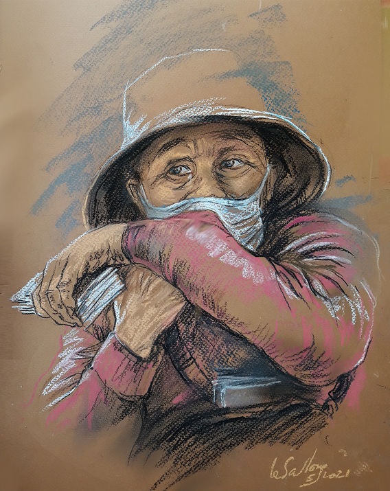 A sketch by Le Sa Long depicts a lottery seller in Ho Chi Minh City.