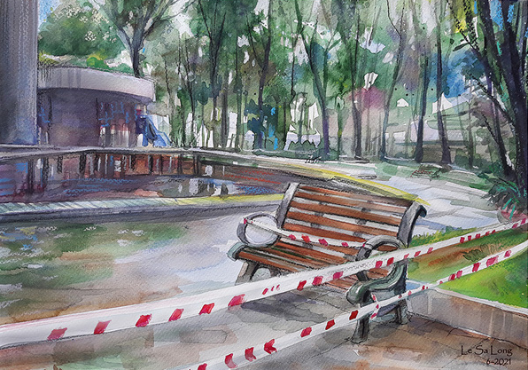 A sketch by Le Sa Long depicts Con Rua Lake in Ho Chi Minh City during social distancing days.
