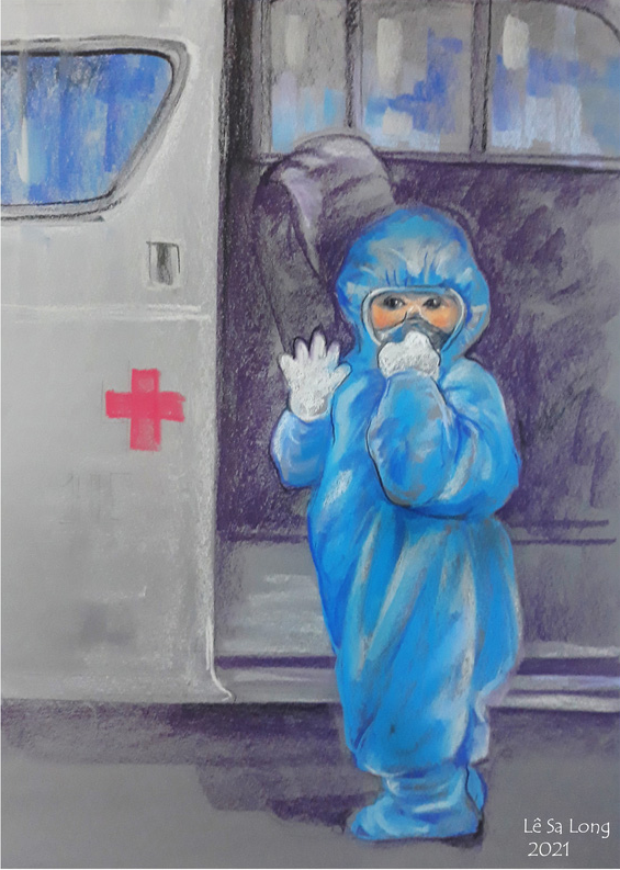 A sketch by Le Sa Long depicts a 5-year-old in PPE overall waving goodbye before boarding an emergency car to enter quarantine.