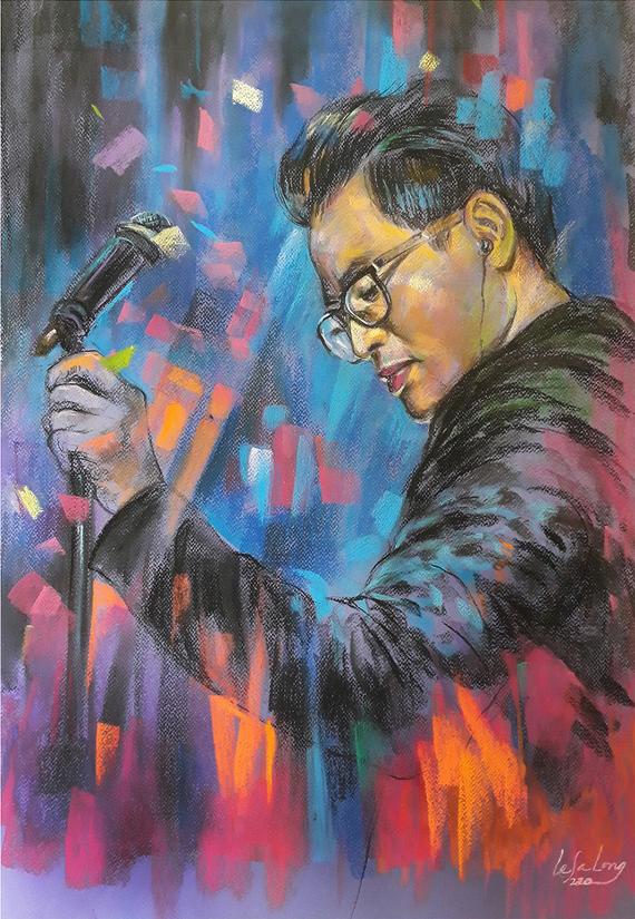 A portrait sketch of singer Ha Anh Tuan by artist Le Sa Long.