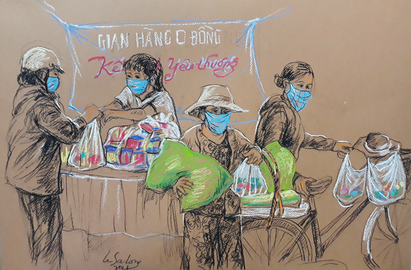 A sketch by Le Sa Long depicting a no-cost grocery store distributing complimentary items to people in need in Ho Chi Minh City, Vietnam.