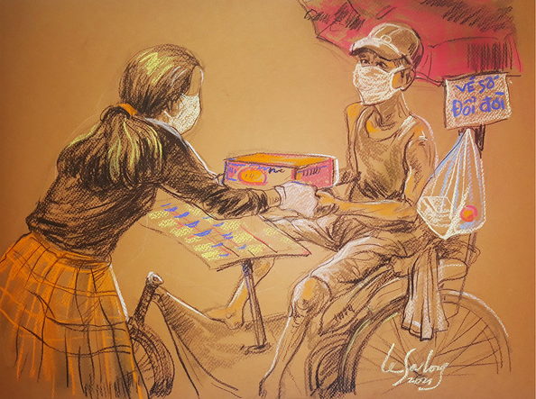 A sketch by Le Sa Long shows a lottery seller receiving a box of instant ramen from a woman.