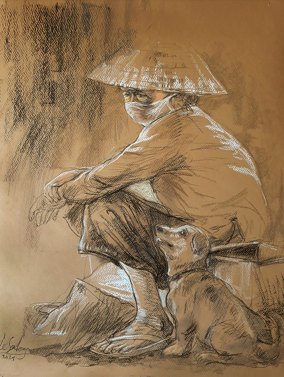 A sketch by Le Sa Long depicts a Ho Chi Minh City resident and her dog.