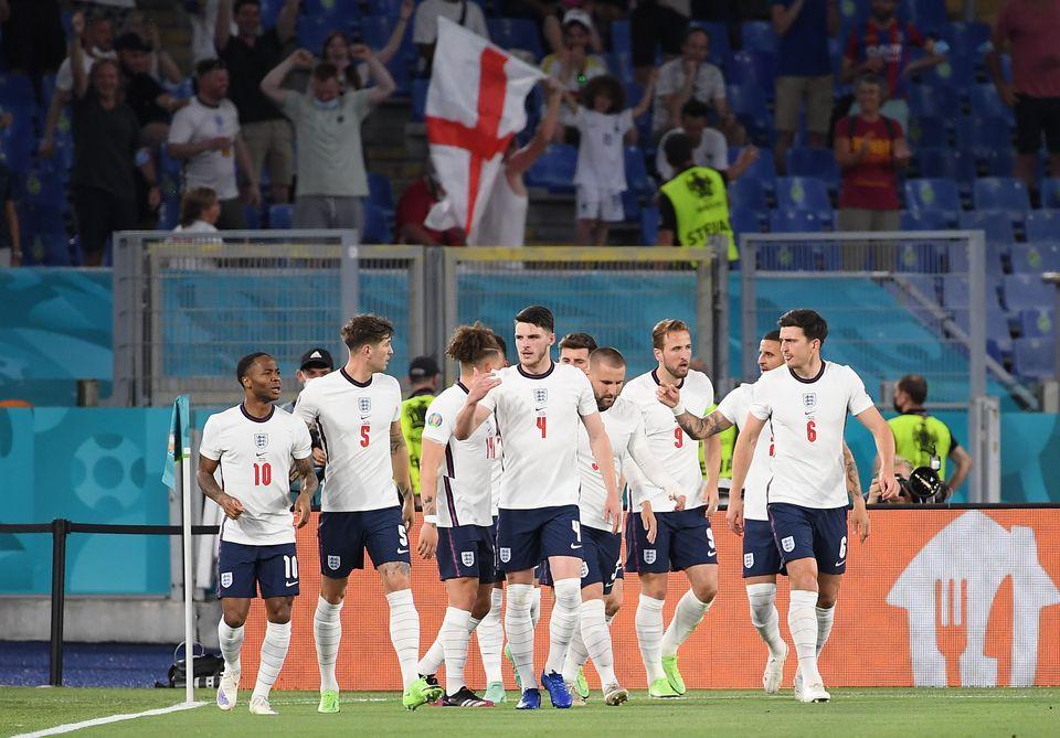 Soccer Football - Euro 2020 - Quarter Final - Ukraine v England - Stadio Olimpico, Rome, Italy - July 3, 2021 England's Harry Kane celebrates scoring their first goal with teammates. Photo: Pool via Reuters