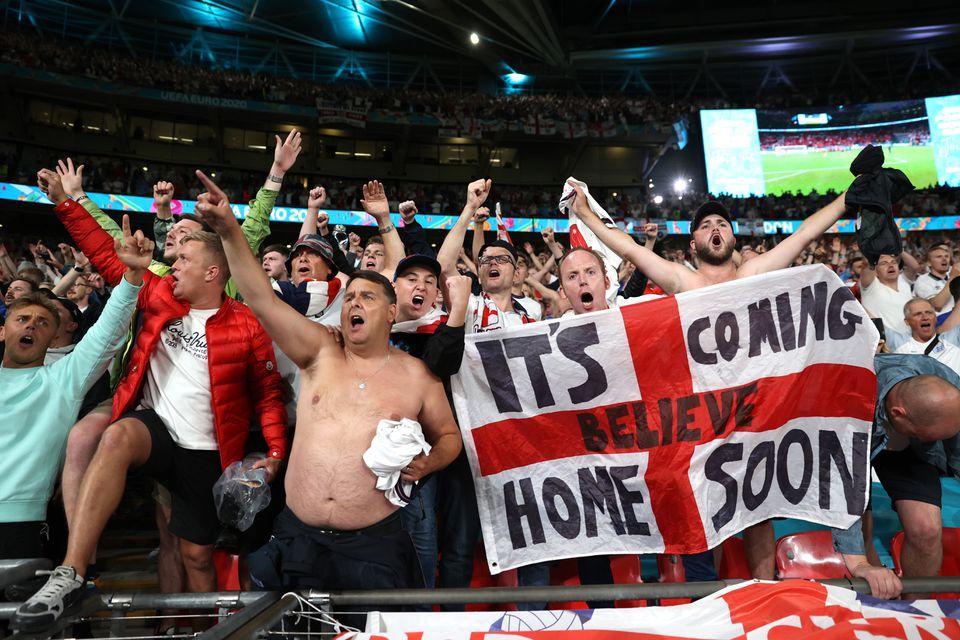 Soccer Football - Euro 2020 - Semi Final - England v Denmark - Wembley Stadium, London, Britain - July 7, 2021 England fans celebrate after the match. Pool via Reuters