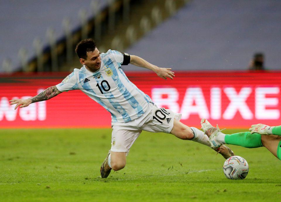 Soccer Football - Copa America 2021 - Final - Brazil v Argentina - Estadio Maracana, Rio de Janeiro, Brazil - July 10, 2021 Argentina's Lionel Messi in action. Photo: Reuters