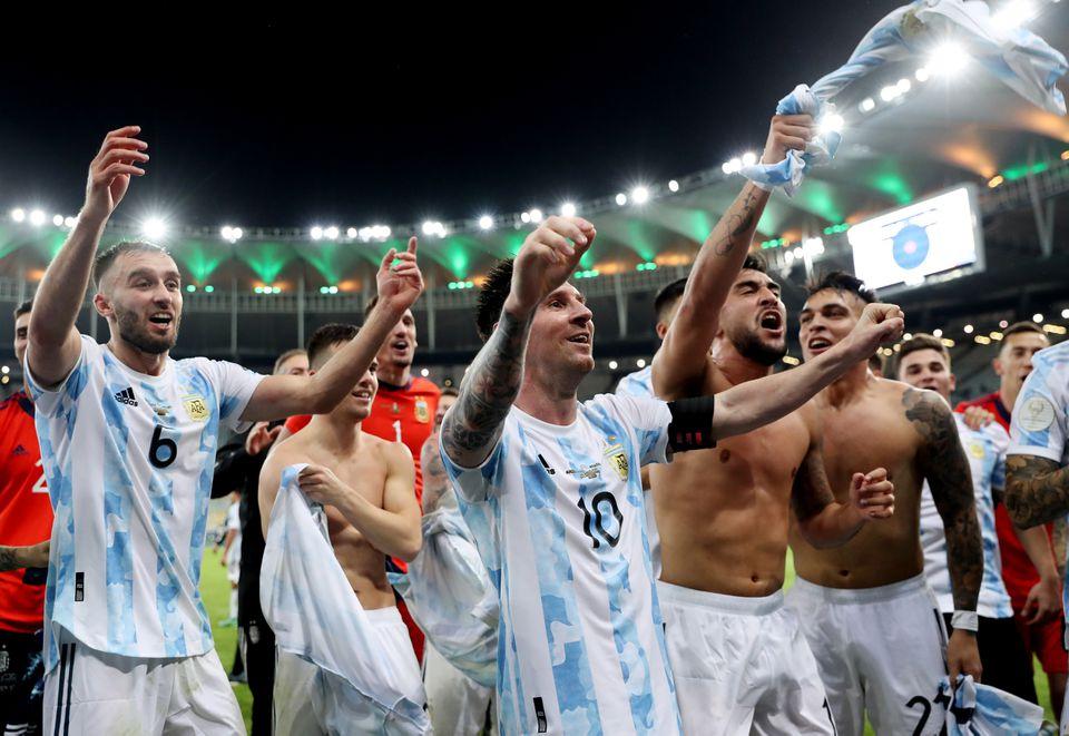 Soccer Football - Copa America 2021 - Final - Brazil v Argentina - Estadio Maracana, Rio de Janeiro, Brazil - July 10, 2021 Argentina's Lionel Messi celebrates with teammates after winning the Copa America. Photo: Reuters