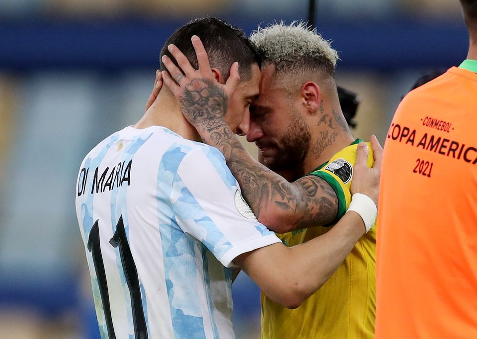 Soccer Football - Copa America 2021 - Final - Brazil v Argentina - Estadio Maracana, Rio de Janeiro, Brazil - July 10, 2021 Brazil's Neymar and Argentina's Angel Di Maria after the match. Photo: Reuters
