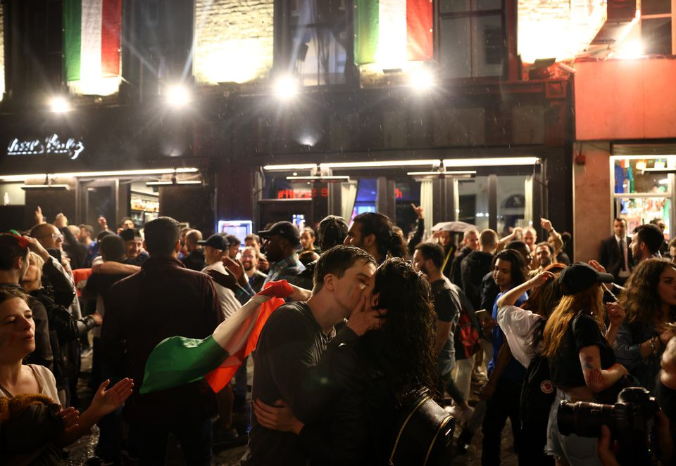 Soccer Football - Euro 2020 - Final - Fans gather for Italy v England - London, Britain - July 11, 2021 Italy fans celebrate after winning the Euro 2020 at Soho London's West End. Photo: Reuters