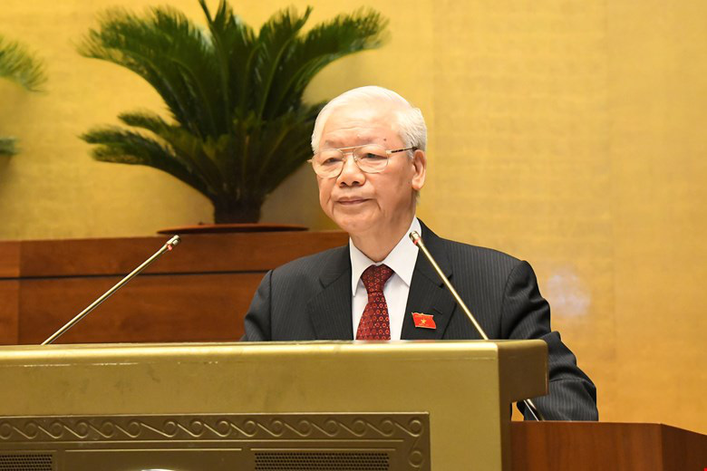 Party General SecretaryNguyen Phu Trong speaks at the first session of the 15th National Assembly in Hanoi, July 20, 2021. Photo: Quochoi.vn