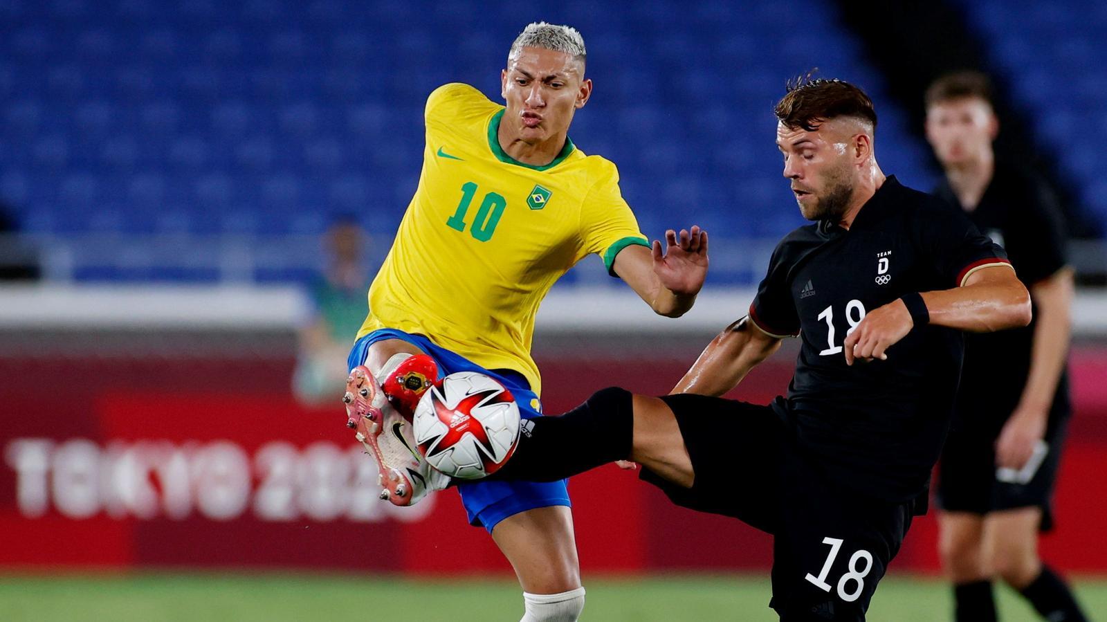 Olympics-Soccer-Richarlison hits hat-trick as Brazil beat Germany