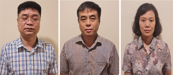These supplied photos show Le Viet Phuong, Pham Ngoc Hai and Thanh Thi Dong Phuong, three market surveillance officers who have been arrested for involvement in Vietnam's largest ever book counterfeiting ring.