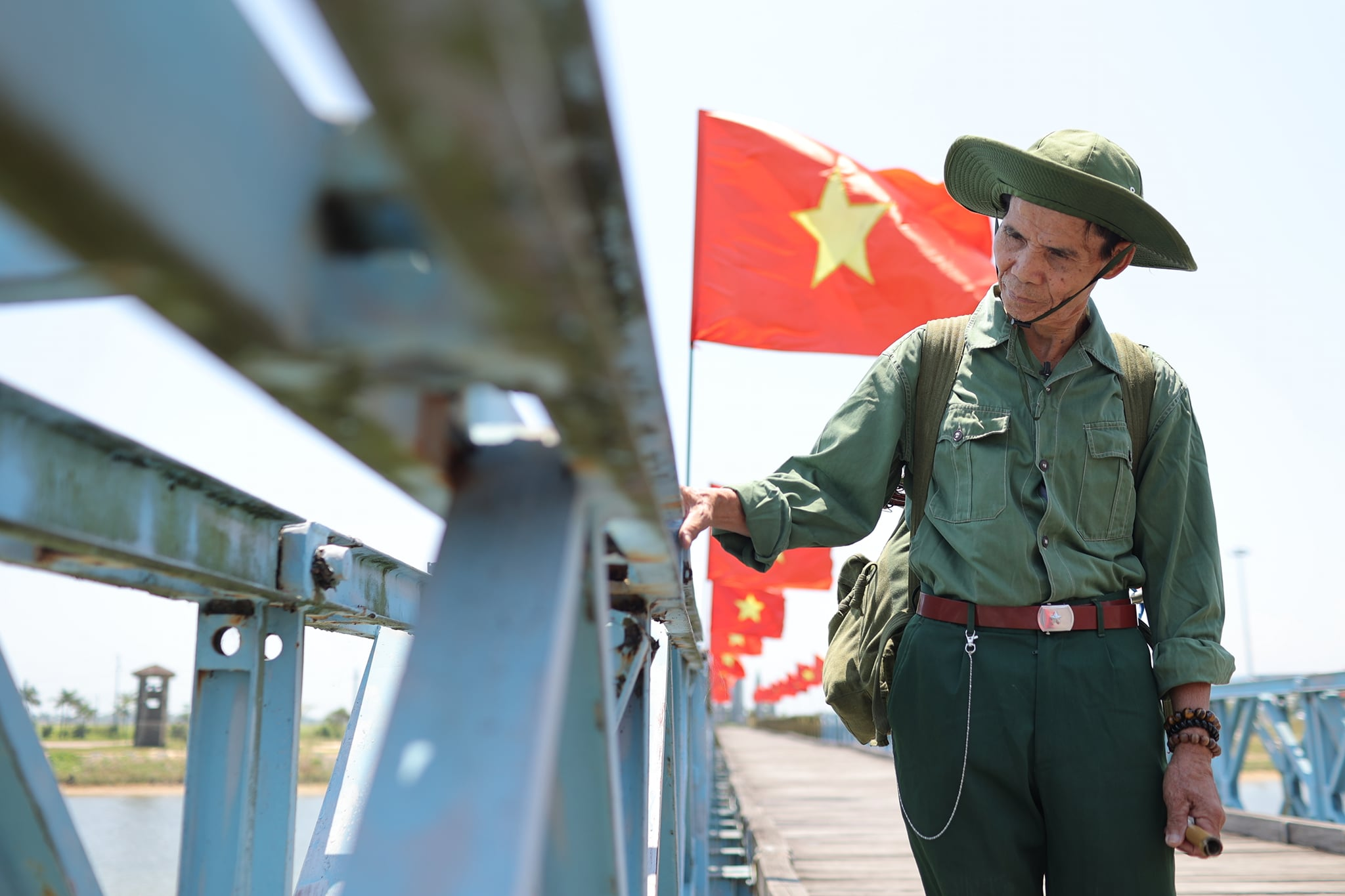 Chu Dinh Hoa is seen while visiting Hien Luong Bridge in the central province of Quang Tri in April 2021. Photo: Hoang Tien Dat