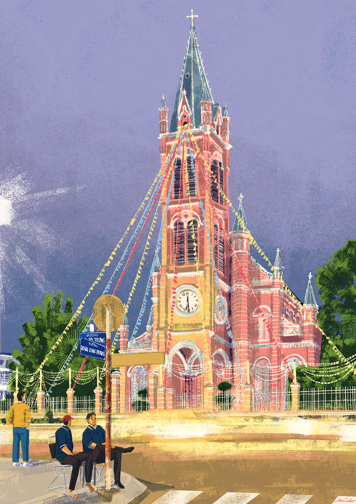 In front of the 'Pink Church'. Caption and picture by Daniel Ansel Tingcungco