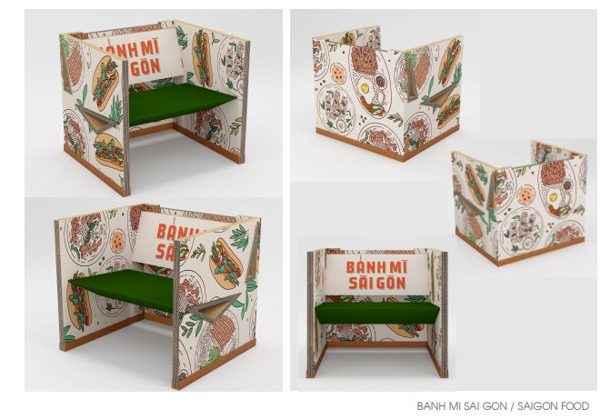 A design from the Saigon Paper Chair collection featuring Vietnamese banh mi by the Honorary Consulate of Federative Republic of Brazil in Ho Chi Minh City
