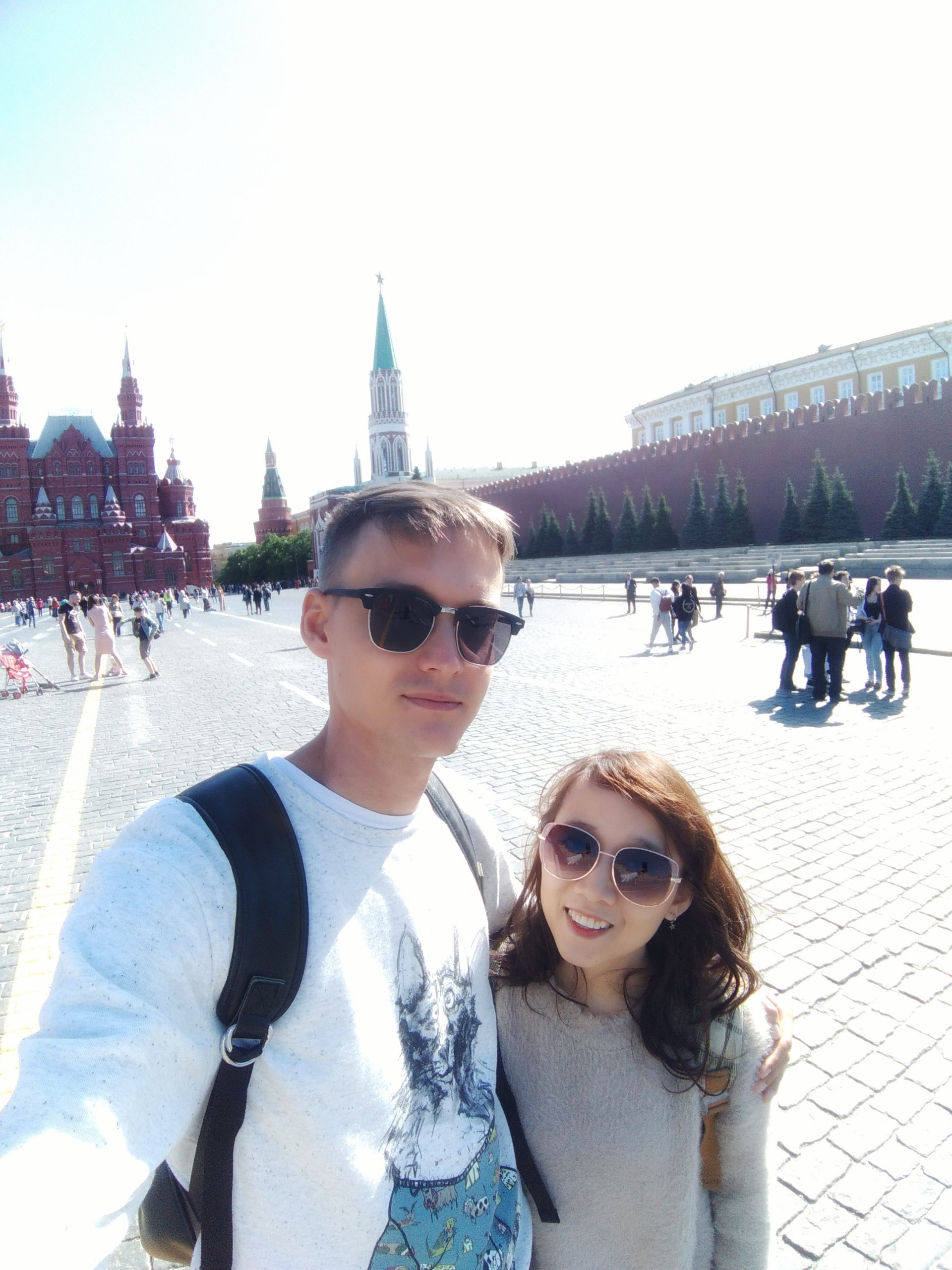 Mikhail Morozov and his Vietnamese wife Thuy are seen in a provided photo during their trip back to Russia in 2019