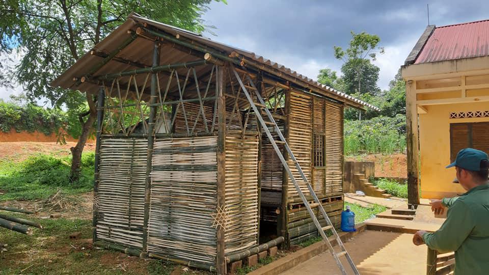 A bamboo lodge is built in Mai Son District, Son La Province, Vietnam. Photo: Ha Loan / Tuoi Tre