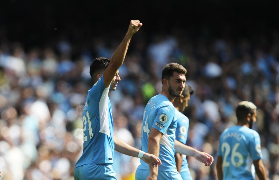 Soccer Football - Premier League - Manchester City v Arsenal - Etihad Stadium, Manchester, Britain - August 28, 2021 Manchester City's Ferran Torres celebrates scoring their fifth goal. Photo: Reuters
