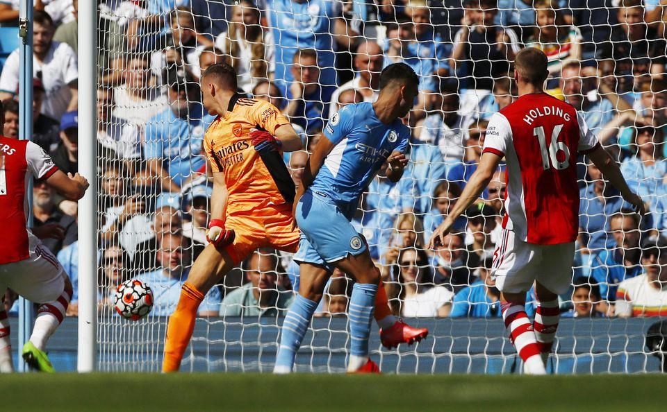 Soccer Football - Premier League - Manchester City v Arsenal - Etihad Stadium, Manchester, Britain - August 28, 2021 Manchester City's Ferran Torres scores their fifth goal. Photo: Reuters