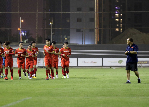 A scene of the first training session of the Vietnamese national football team in Saudi Arabia. Photo: VFF