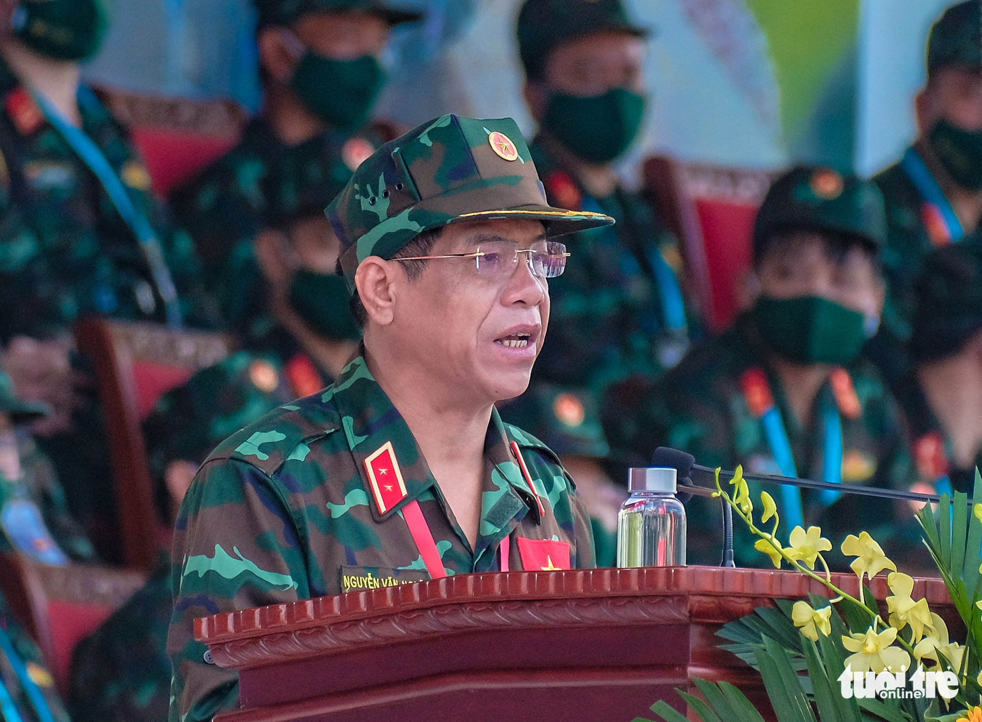 Lieutenant General Nguyen Van Nghia, Deputy Chief of the General Staff of the Vietnam People's Army, speaks at the opening ceremony of the contests at the 2021 International Army Games in Hanoi on August 31, 2021. Photo: Nam Tran / Tuoi Tre