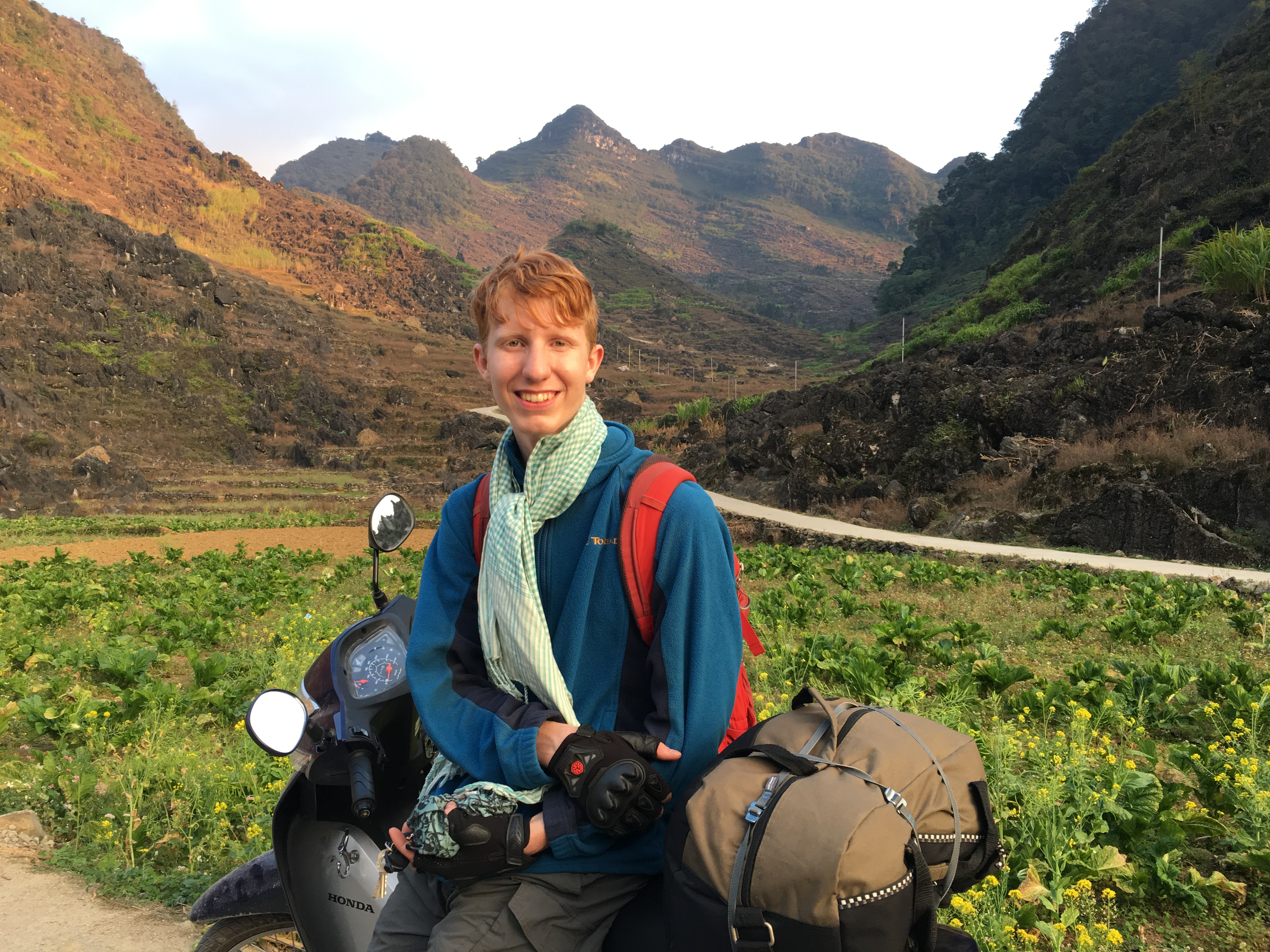 Chris Lewis is seen in a photo taken on his road trip by bike to the norther province of Ha Giang in 2019. Photo by courtesy of Chris Lewis