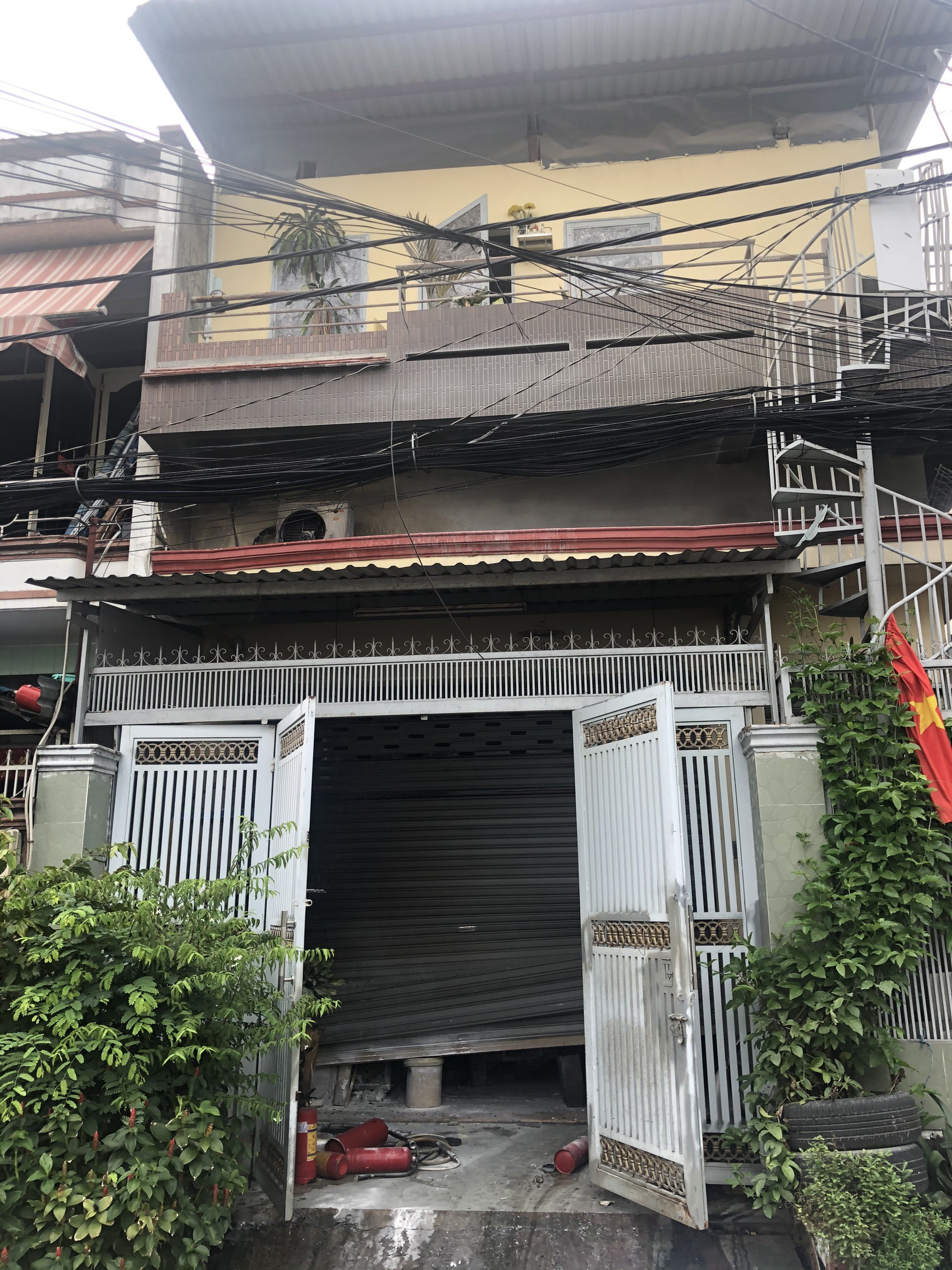 The house is damaged following the fire in Binh Tan District, Ho Chi Minh, September 5, 2021 in this supplied photo.