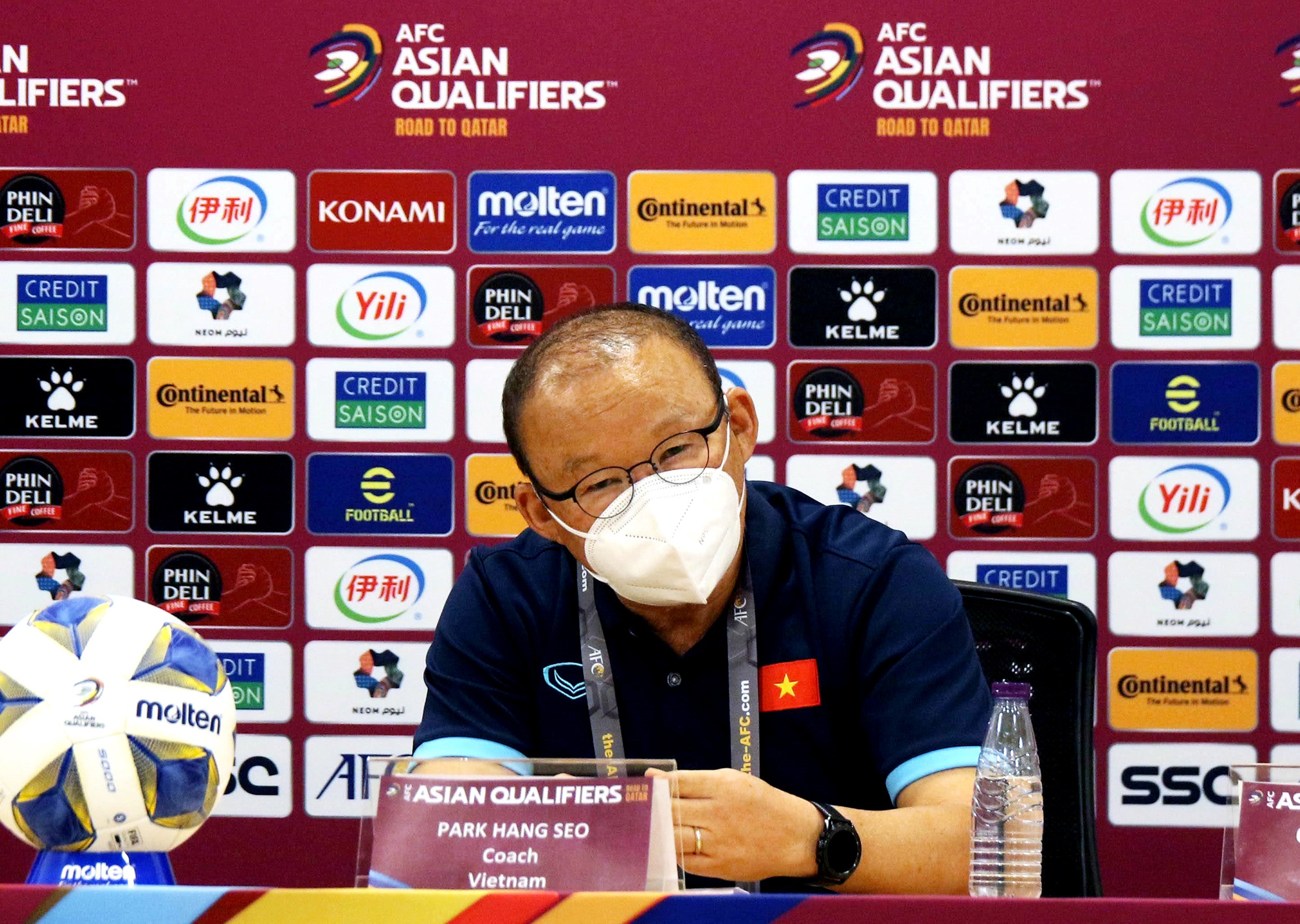 Vietnam's head coach Park Hang Seo speaks at a press conference before their match against Australia in Hanoi, September 6, 2021. Photo: Vietnam Football Federation