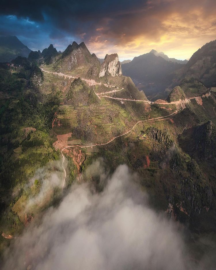 The 'surreal' scene taken at the Dong Van Karst Plateau Geopark in the northern mountainous province of Ha Giang by Indra