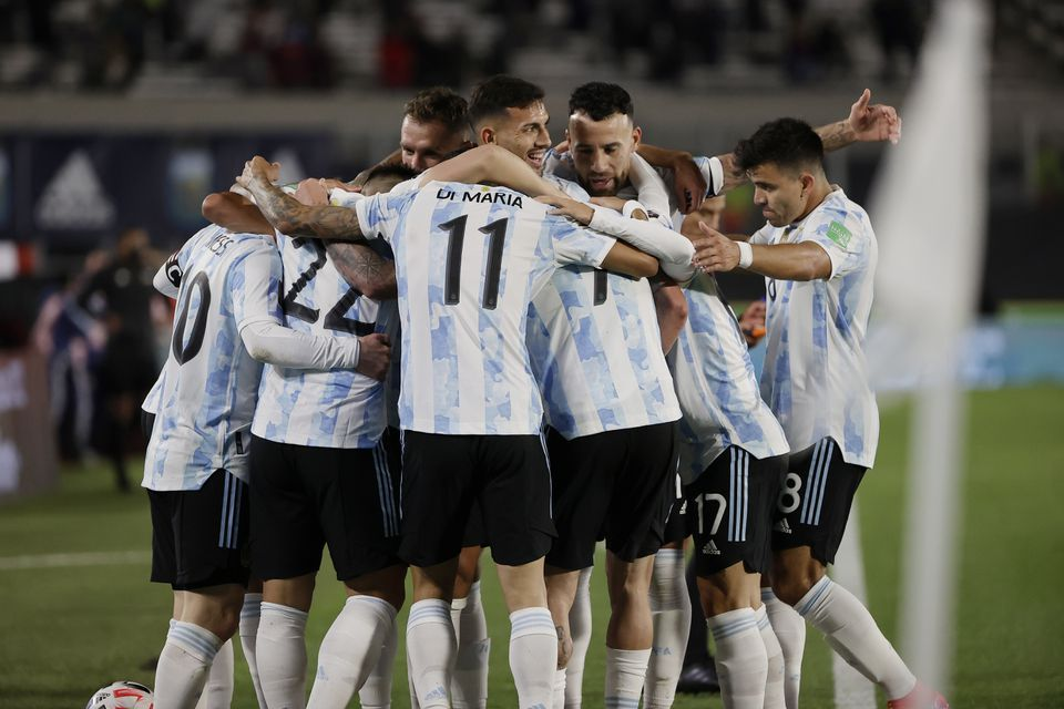 Soccer Football - World Cup - South American Qualifiers - Argentina v Bolivia - El Monumental, Buenos Aires, Argentina - September 9, 2021 Argentina's Lionel Messi celebrates scoring their first goal with teammates. Pool via Reuters