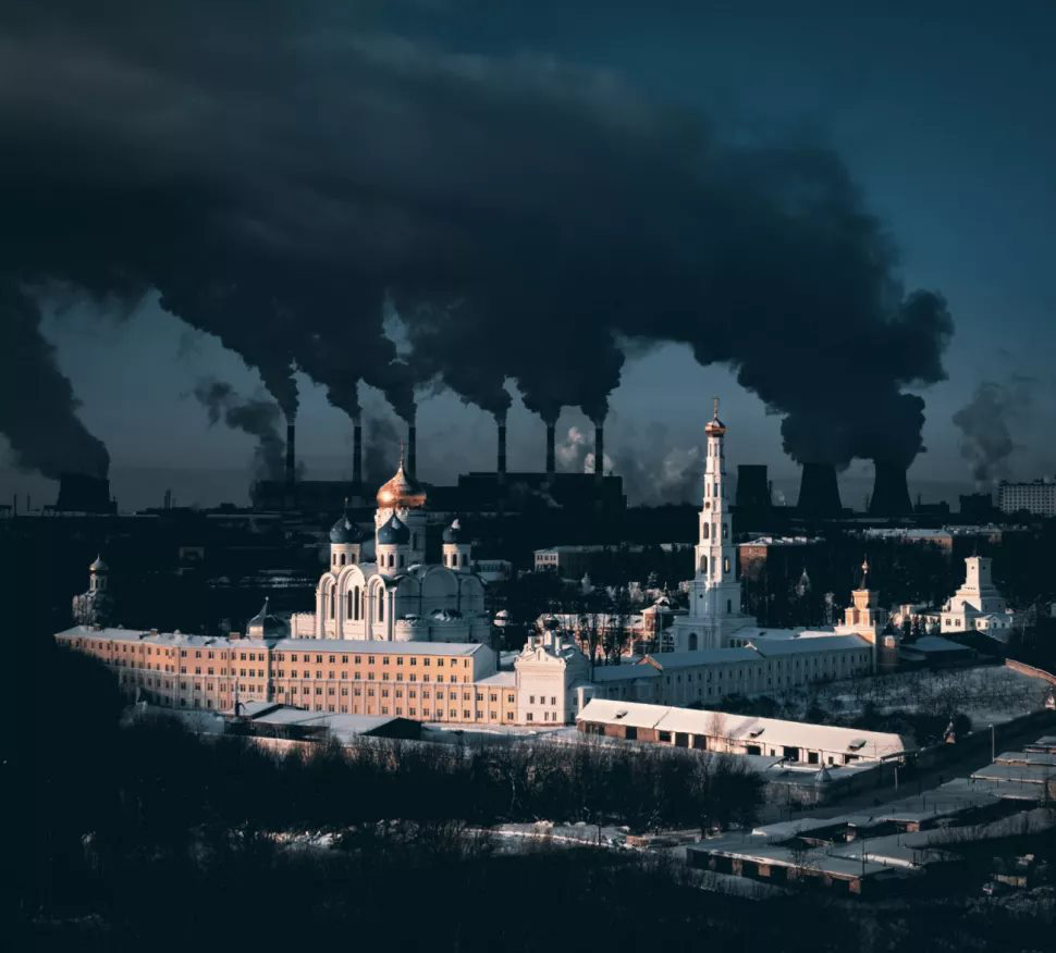'Metaphorical Statement About City and Winter' by Sergei Poletaev, winner of the Urban category at the 2021 Drone Photo Awards