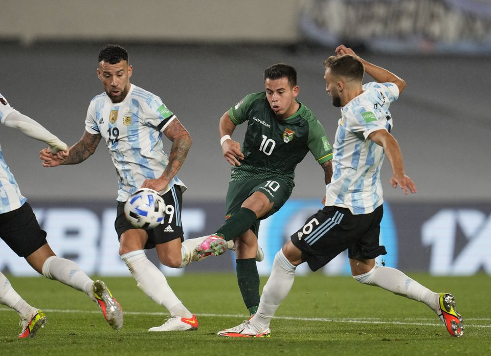 Soccer Football - World Cup - South American Qualifiers - Argentina v Bolivia - El Monumental, Buenos Aires, Argentina - September 9, 2021 Bolivia's Henry Vaca in action. Pool via Reuters