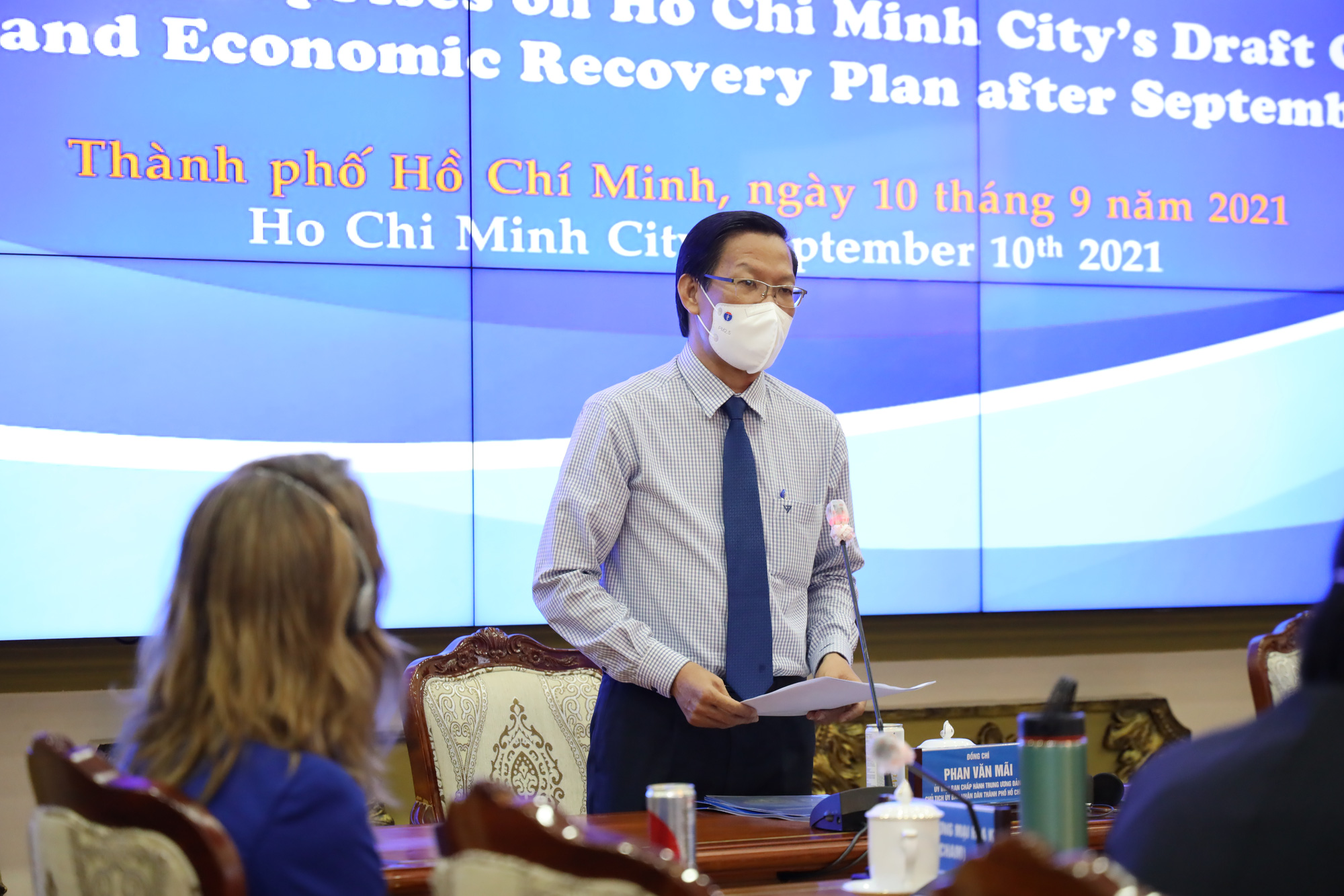 Ho Chi Minh City chairman Phan Van Mai speaks at a conference on consulting enterprises on the city's draft COVID-19 management and economic recovery plan after September 15 in this picture taken on September 10, 2021. Photo: Ho Chi Minh City Press Center