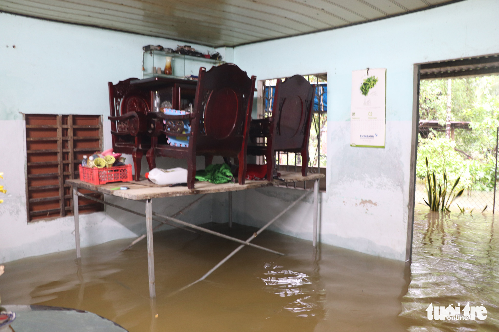 A house is submerged in Quang Nam Province, Vietnam, September 12, 2021. Photo: Duc Tai / Tuoi Tre
