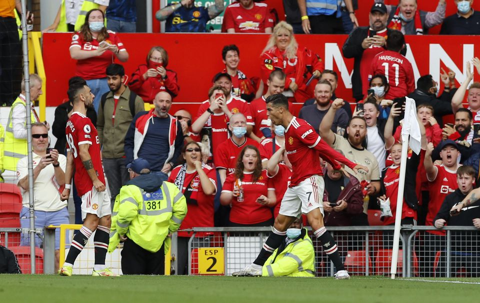 Soccer Football - Premier League - Manchester United v Newcastle United - Old Trafford, Manchester, Britain - September 11, 2021 Manchester United's Cristiano Ronaldo celebrates scoring their first goal. Photo: Reuters