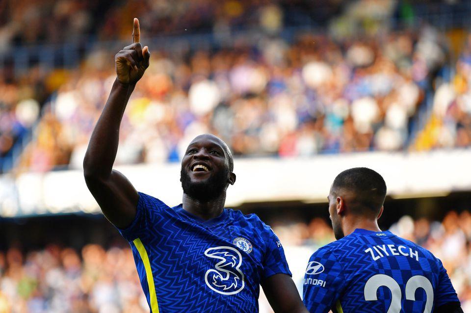 Soccer Football - Premier League - Chelsea v Aston Villa - Stamford Bridge, London, Britain - September 11, 2021 Chelsea's Romelu Lukaku celebrates scoring their first goal. Photo: Reuters