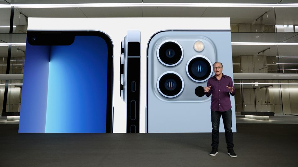 Apple's senior vice president of Worldwide Marketing Greg Joswiak talks about the new iPhone 13 Produring a special event at Apple Park in Cupertino, California broadcast September 14, 2021. Apple Inc/Handout via Reuters