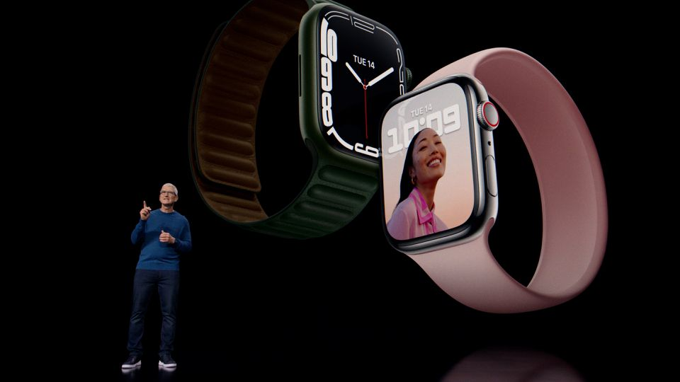 Apple CEO Tim Cook unveils Apple Watch Series 7 during a special event at Apple Park in Cupertino, California broadcast September 14, 2021. Apple Inc/Handout via Reuters